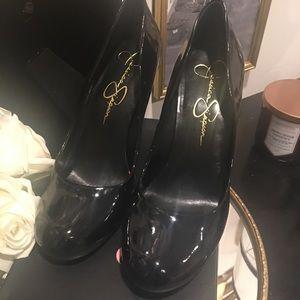 Jessica Simpson black patent leather heels
